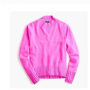 EUC J.Crew Cashmere Mockneck Sweater Neon Berry XL